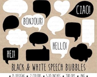 Hand Drawn Speech Bubble Clip Art. Thought Bubble Illustration. Black and White Bubbles. Speech Bubble Clipart.