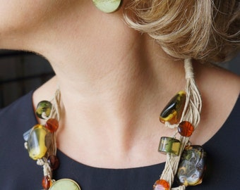 Parure necklace linen and watercolor + dangle earrings 'Spice' fall colors.