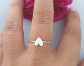 Silver small heart ring in sterling silver 925 ,  above the knuckle ring ,  silver midi ring , stacking ring , Christmas gifts