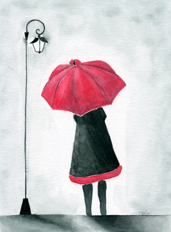 Girl With Red Umbrella Original Watercolor By