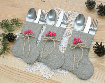 christmas silverware table decor burlap christmas silverware christmas decorations christmas
