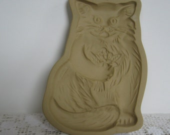Cookie Mold, Cat and Flowers,Vintage Clay Baker, Kitchen Wall Decor, 1984