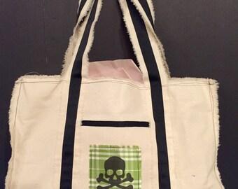 Skull & CrossBones green plaid silk pockets large tote bag