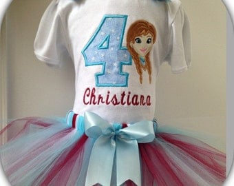 SHIRT ONLY! Personalized First Birthday Shirt. Frozen Anna with Bows 1st 2nd 3rd 4th 5th. Custom Little Girl Bodysuit. Embroidered Princess.