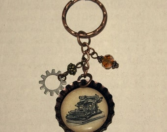 Beaded Bottlecap Keychain - Typewriter
