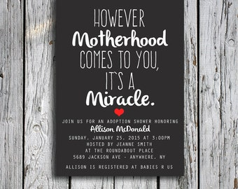 Adoption Shower Invitation - However Motherhood Comes to You, It's a Miracle - Baby Shower Invite - Digital File - Printable