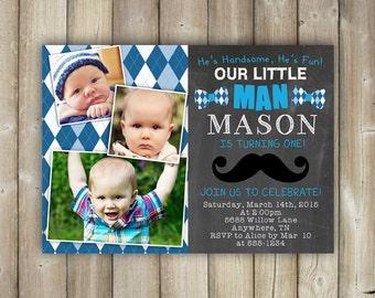 Little Man First Birthday Invitation, Boys 1st Bday Invite, Mustache - Bow Ties - Argyle - Digital File, Print Yourself