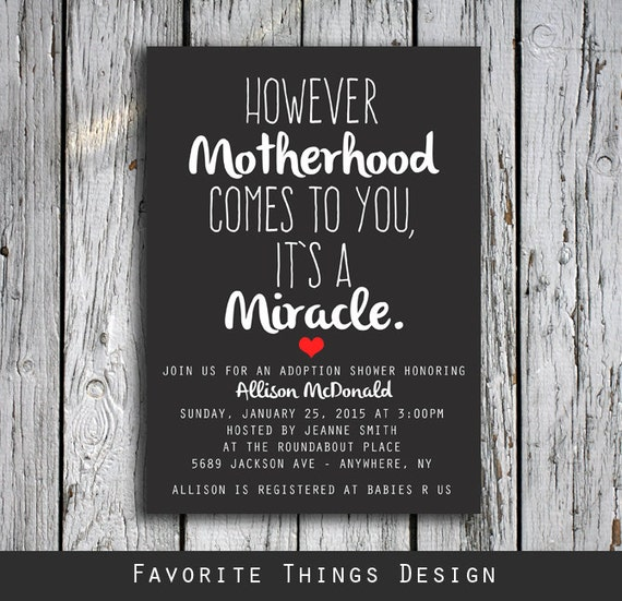Adoption Shower Invitation However Motherhood Comes to You