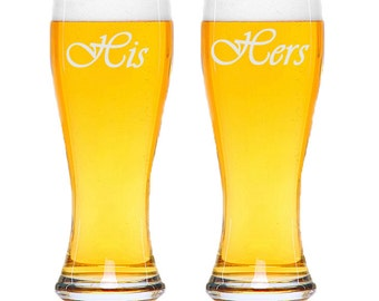 Etched His and Hers Pilsner Beer Glasses / Set of 2 / Personalized Glasses / Add Your Date / Anniversary : Wedding Gift / 48 Designs