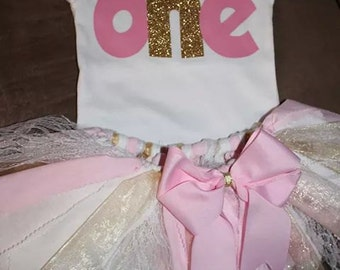 First Birthday onesie, tutu and matching headband Light Pink and Gold colors