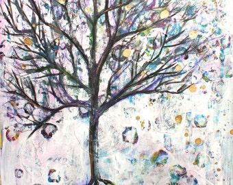 Mixed Media Tree, Tree Art, Tree Painting, Grunge Tree, Mixed Media Art, Tree of Life, Nature Art, Home Decor, Teen Decor, Print, 8x10