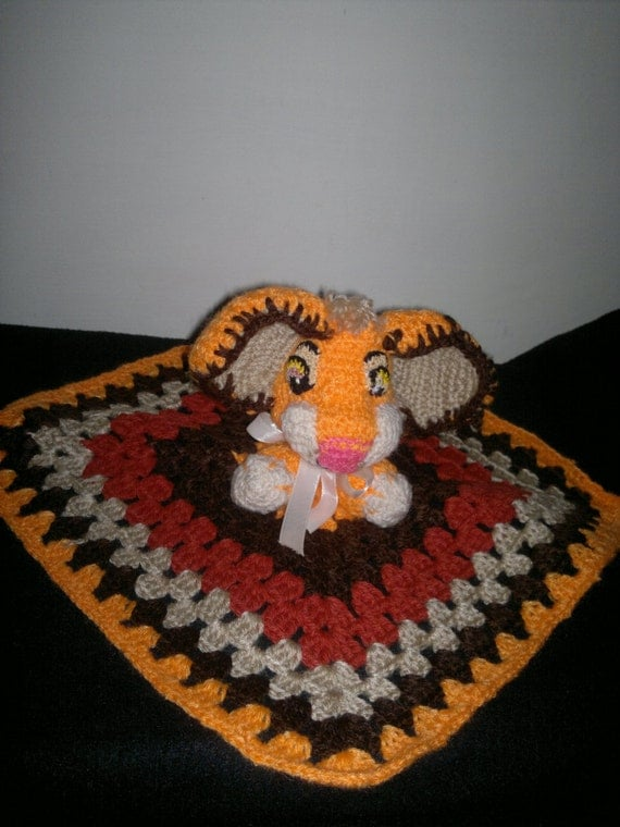 Amigurumi Crochet Young Simba from Lion King a Baby Blankie