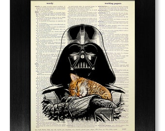 STAR WARS Art, Star Wars PRINT, Cat Painting, Cat Home Decor, Kids Room Decor, Anniversary Gift Man, Unique Star Wars Gift, Bedroom Poster