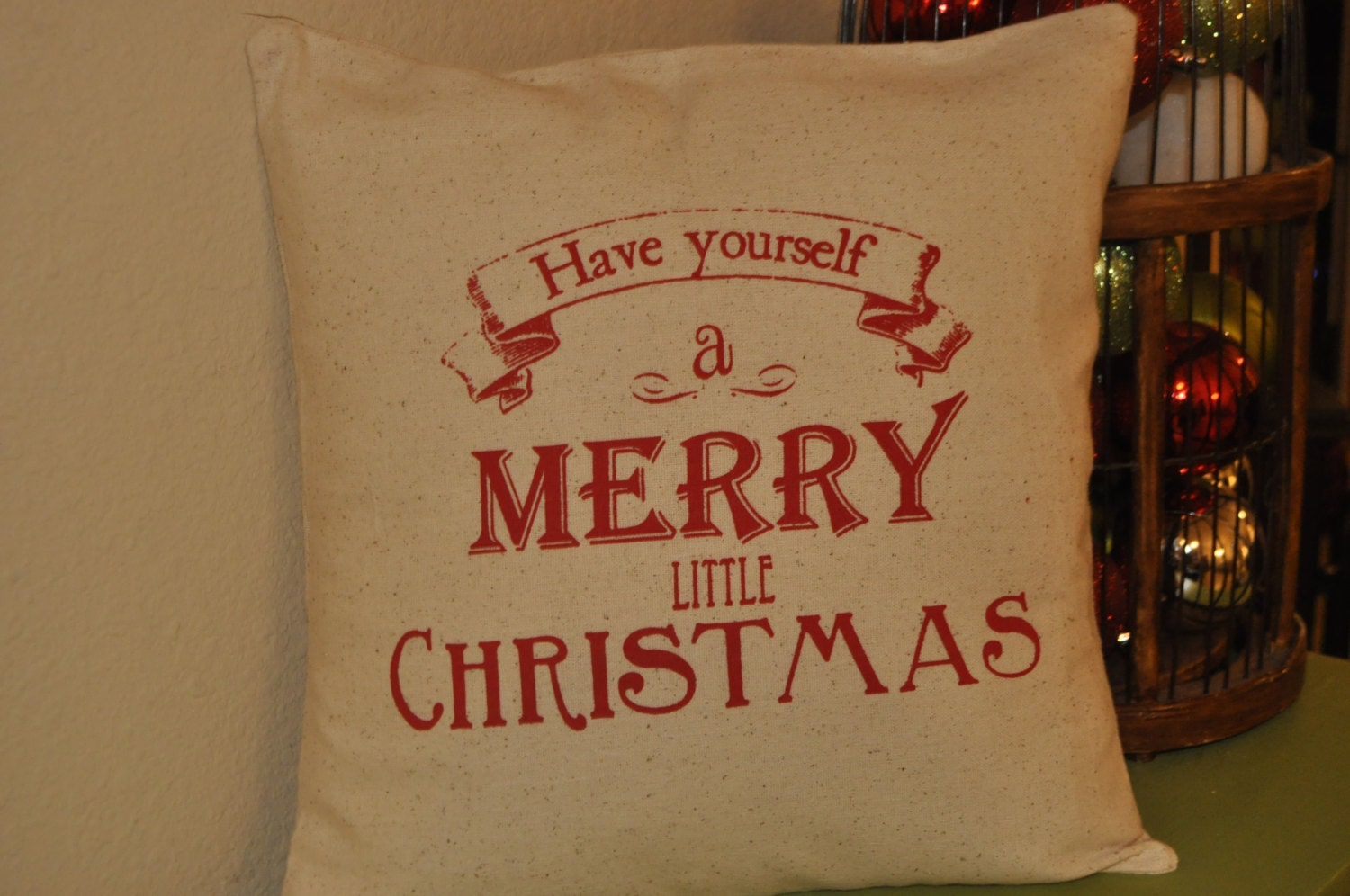 Handmade Have yourself a merry little christmas pillow cover 14x14