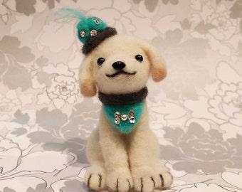 Needle Felted Golden Retriever, English Cream Golden Retriever, Miniature Retriever puppy