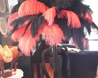 Black and Red Ostrich Feather Centerpiece
