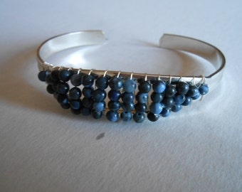 Blue Sodalite, Open Bangle, Sterling Silver Plated, Handmade, Bracelet, Jewelry, Beads, Lapis, Free Shipping