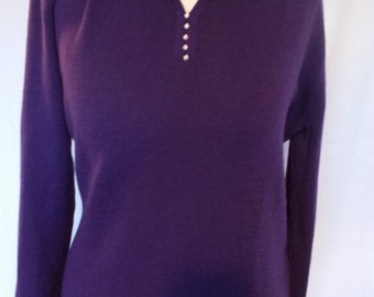 Vintage womens sweater jumper by Castle of Ireland purple collared beaded jumper size small medium