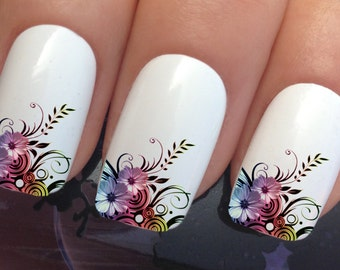 nail decals #608 flower leaf french tips water transfers stickers manicure art set x12