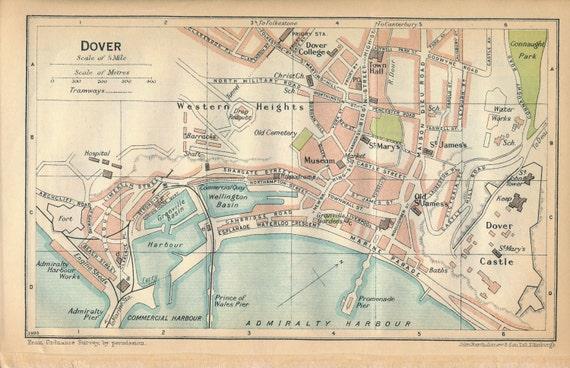 Folkestone United Kingdom  city photos gallery : 1930 Dover & Folkestone United Kingdom Great Britain Antique map