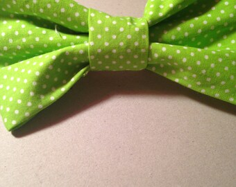 Bright Green Polka Dot Hair Bow with Attached Barrette!