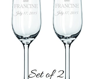 Anniversary Champagne Flutes, Engraved Toasting Flutes, Anniversary Gift, Wedding Toasting Flutes, Personalized Champagne Flutes