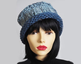 MAGEE Denim and light blue chunky knit fedora hat, Ready to ship, Roll brim hat, Crocheted winter cloche, Porkpie hat, OOAK womans knit hat