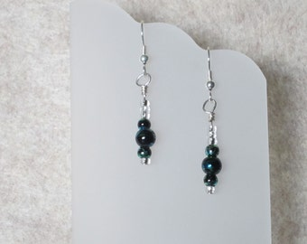 Black with Blue and Green Swirl Glass Bead Earrings