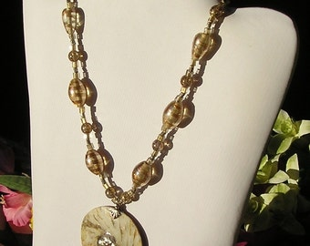 Silver and Gold Shell Beaded Gypsy Pendant Necklace