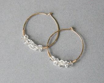 Herkimer diamond hoop earrings, herkimer hoops gold, gold hoop earrings, april birthstone