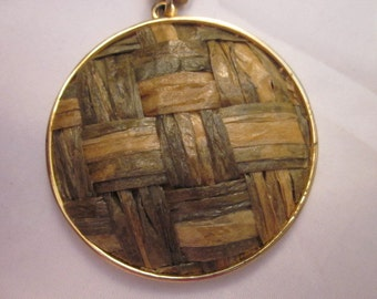 Vintage Woven Straw/Seagrass/Raffia Pendant with Gold tone chain