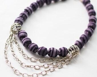 Purple Necklace, Fabric Purple Necklace, Purple Beaded Necklace, purple stripe fabric necklace, Chains necklace, multistrain necklace
