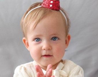 Mini Santa Hat for Babies, Glitter Cone Hat, Holiday Hat, Christmas Hat, Baby Hat, Santa's Little Helper