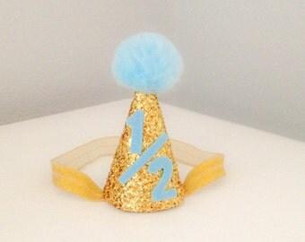 Gold and Blue 1/2 Birthday Hat, Boys 1/2 Birthday Party Hat, 6 Month Birthday, 1/2 Birthday Photo Prop Hat, Pom Pom Hat, Glitter Hat