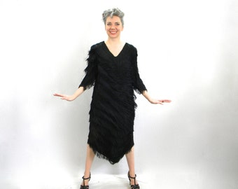80s Black Fringe Dress | 20s Style Party Dress | Nightworks | Medium