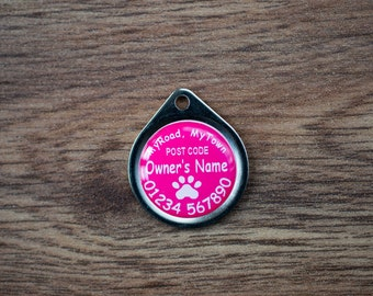 Cat Pet ID Tag - Tiny Scratch-Proof Pet Tag - 22mm Single Sided - Personalised Pet Tag