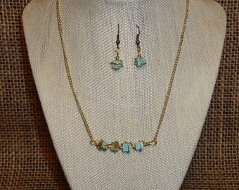 """Aqua Wire Wrapped """"Stone"""" Necklace and Earrings"""