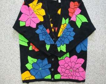 Vintage early 90's Chaus Woman flowered tunic length cardigan size 3X but runs much smaller bright flowers beading embroidery (108O)