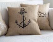 Burlap Anchor Pillow Cover - Coastal Pillow Burlap Feed Sack Pillow Nautical Design Beach House Decor Lake House Pillow Burlap Anchor Pillow