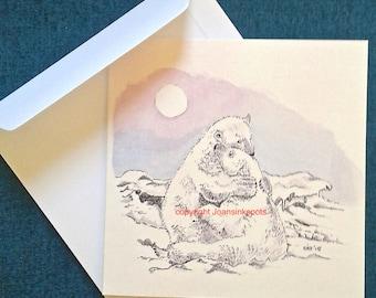 Card cuddling polar bears