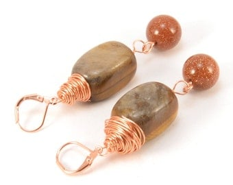 Sale! 30% off!! Stone Earrings - Gemstone Jewelry - Tiger Eye - Goldstone- Brown Earrings - Copper Earrings - Copper Wire - Wire Wrapped