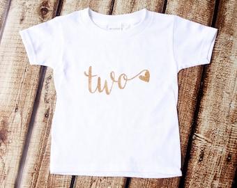 Second Birthday Shirt, 2nd Birthday Shirt, Two with heart Tshirt, Gold Glitter, Girls Glitter, Glitter shirt, Third Birthday, Birthday Tutu