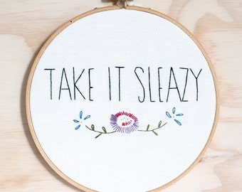 Workaholics hand embroidered wall art, hoop art, television