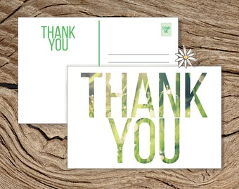 """Printable Thank You Postcard, 4 x 6"""", Modern Grass/Nature Theme Flat Thank You Card, Double Sided PDF Instant Download"""