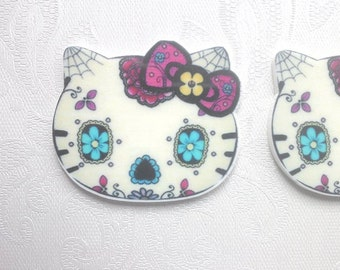 Sugar skull hello kitty day of the dead kitty goth hello kitty large statement flatback cabochon decoden crafts uk