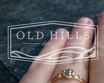 Gray Rosecut Diamond Engagement Ring, 14K Yellow Gold