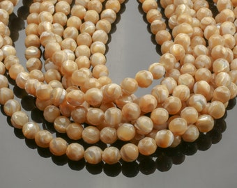 Gorgeous Golden Mother of Pearl, High Quality in Faceted Round