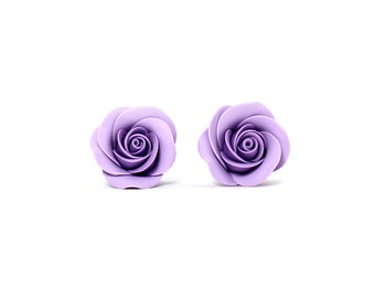 Floral ear studs • Floral jewelry • Jewelers • Fashion jewelry • Purple earrings • Rustic wedding • Gift for her • Floral stud earrings