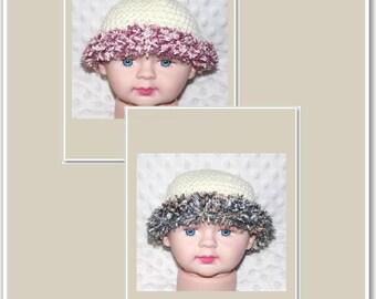 Newborn Baby Crocheted Beanies - Twin Boy/Girl Set