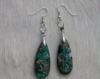 Dark Green Sea Sediment Jasper Earrings